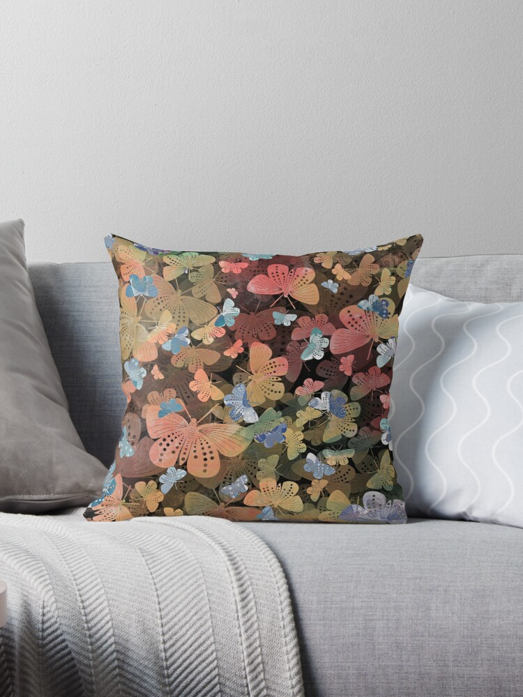 Coral Green Blue Butterfly Pattern Throw Pillow By Jnpdesign999 Redbubble