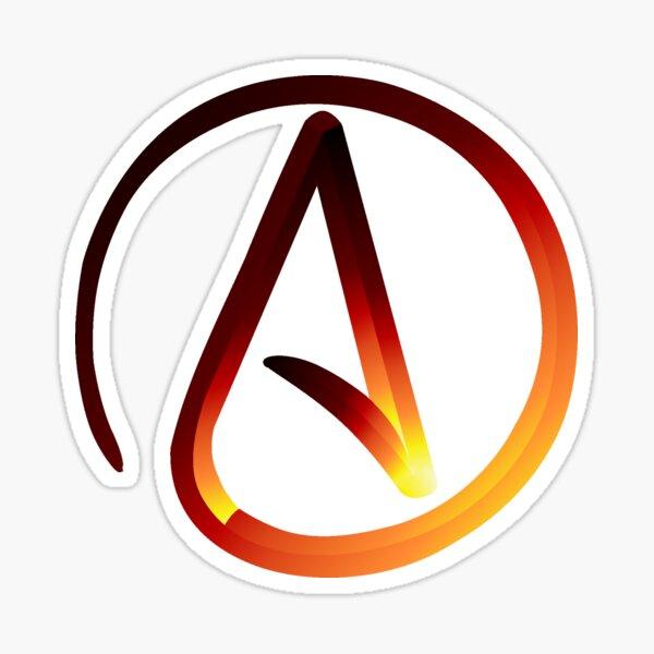 Red Hot Atheist Symbol Sticker