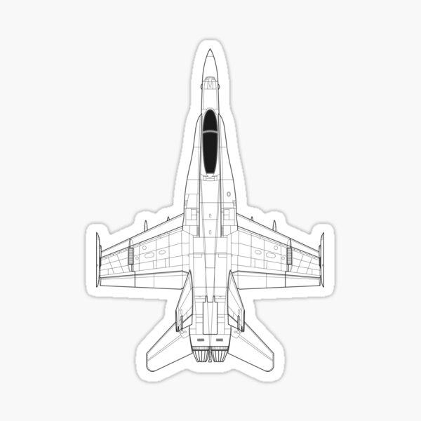 McDonnell Douglas F-18 Hornet Blueprint Sticker