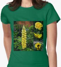 Frühlings- und Sommerblumen-Collage Tailliertes T-Shirt für Frauen