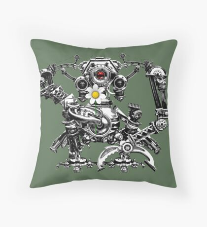 Cyberpunk Vintage Robot with Flower Steampunk T-Shirts Throw Pillow