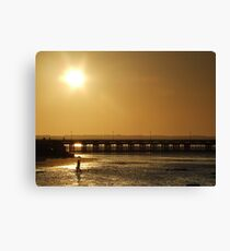 sunset over ryde pier Canvas Print