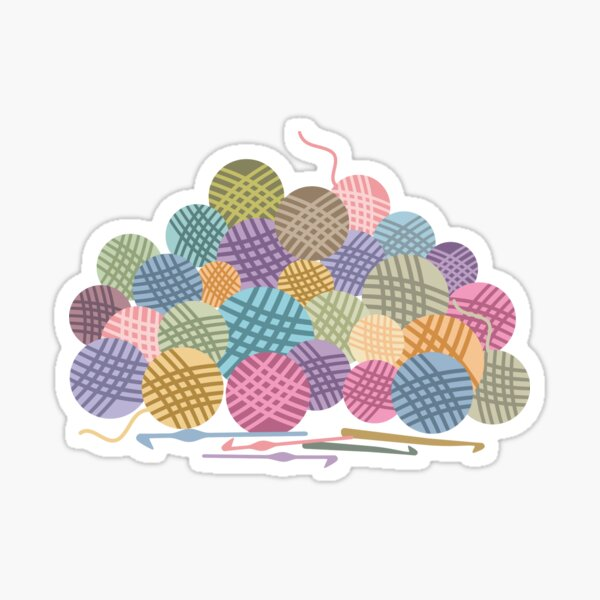 colorful crochet hooks balls of yarn Sticker
