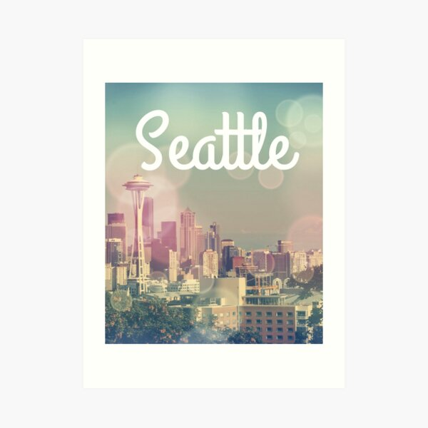 Dreamy Seattle Skyline and Space Needle Art Print