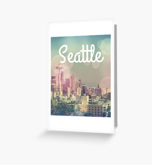 Dreamy Seattle Skyline and Space Needle Greeting Card Designed by stine1