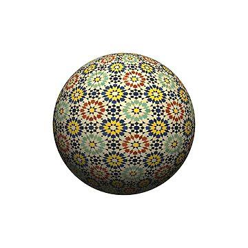 Digital composite - design element. 3d ceramic tile pattern sphere. by stuwdamdorp