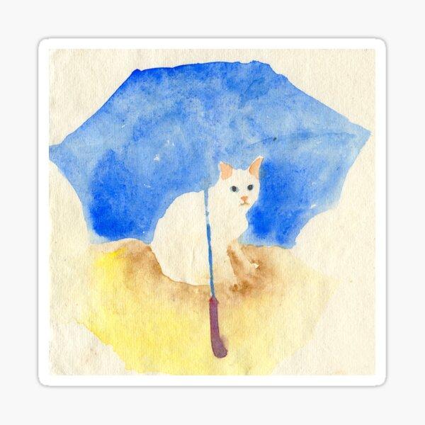 White cat under a blue umbrella Sticker
