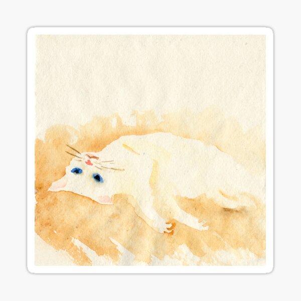 White cat lying on the floor Sticker