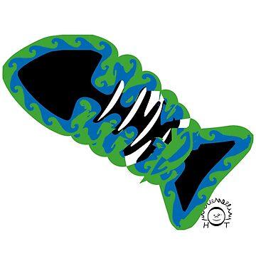 Fish bone skeleton herringbone illustration by PM-TShirts