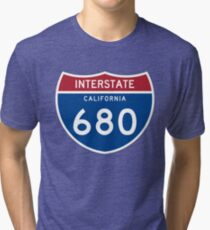 Interstate 680 CALIFORNIA | Voyage 680 route icon of the California State | Interstate Highway I 680 Tri-blend T-Shirt