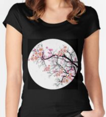 cherry blossom by mysticladyart  clock edit Women's Fitted Scoop T-Shirt