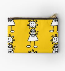 The Girl with the Curly Hair Holding Cat - Yellow Studio Pouch