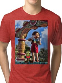 PINOCCHIO AND JIMMY CRICKET (VERSION THREE)(A FAVORITE MEMORY OF MINE) PICTURES-CARDS-PILLOWS-TOTE BAGS-ECT.. Tri-blend T-Shirt