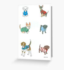 Dogs in Holiday Sweaters Greeting Card