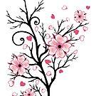 Kirschbaum Kirschblüten mit Herzen Sakura Frühling von Christine Krahl