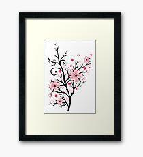 Kirschbaum Kirschblüten mit Herzen Sakura Frühling Gerahmtes Wandbild