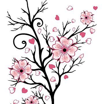Kirschbaum Kirschblüten mit Herzen Sakura Frühling von ChristineKrahl