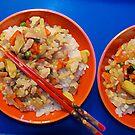 Rice and chopsticks by binoculars
