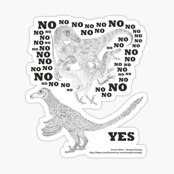 Just say NO to unfeathered non-avialan maniraptoran theropod dinosaurs Sticker