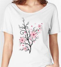 Kirschbaum Kirschblüten mit Herzen Sakura Frühling Baggyfit T-Shirt