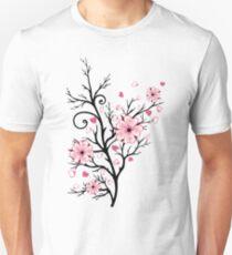 Kirschbaum Kirschblüten mit Herzen Sakura Frühling Unisex T-Shirt