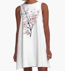 Kirschbaum Kirschblüten mit Herzen Sakura Frühling A-Linien Kleid