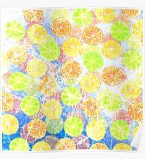 Abstract Frozen Citrus Fruit Poster
