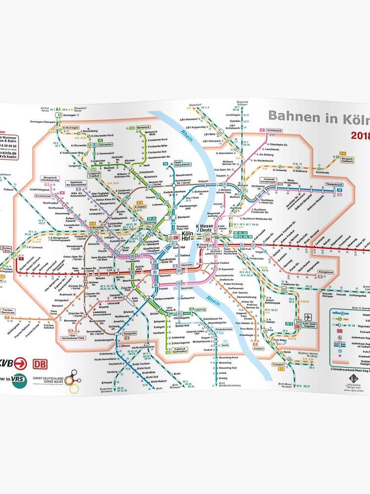 Cologne _ Köln - Regio, U-Bahn, S-Bahn Network Map - Germany - HD | Poster