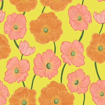 Icelandic Poppies on Yellow Springtime Floral by carabara