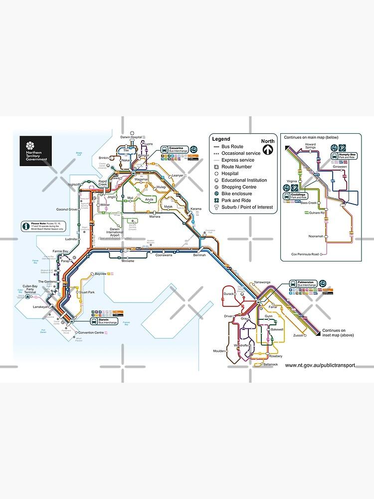 Australia Map Darwin.Darwin Australia Public Bus Network Map Hd Greeting Card