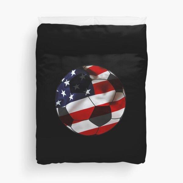 USA Soccer Design American Flag Soccer Ball Duvet Cover