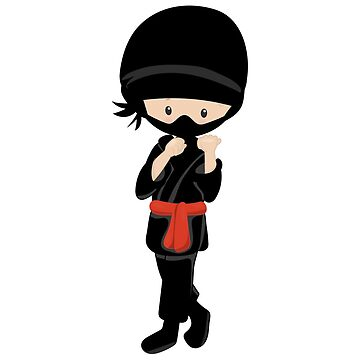 Black Ninja little boy character by wellnessSisters