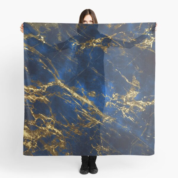 Exquisite Blue Marble With Luxury Gold Veins Scarf