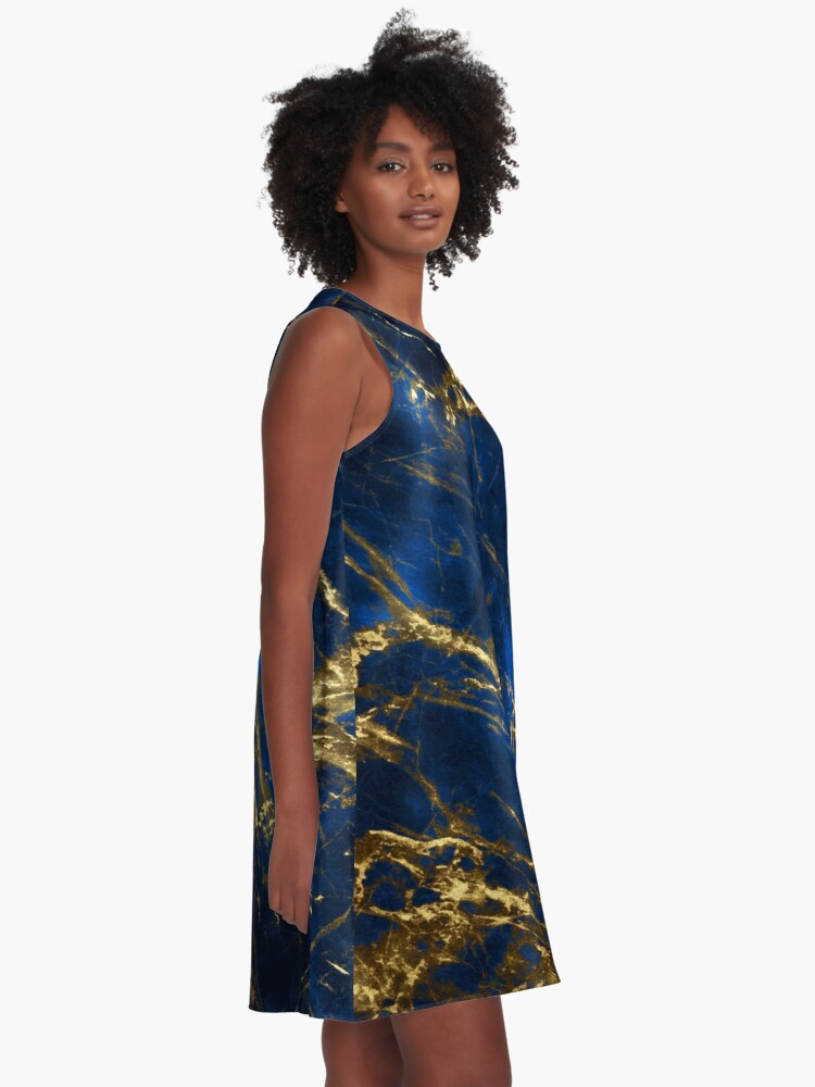 Alternate view of Exquisite Blue Marble With Luxury Gold Veins A-Line Dress