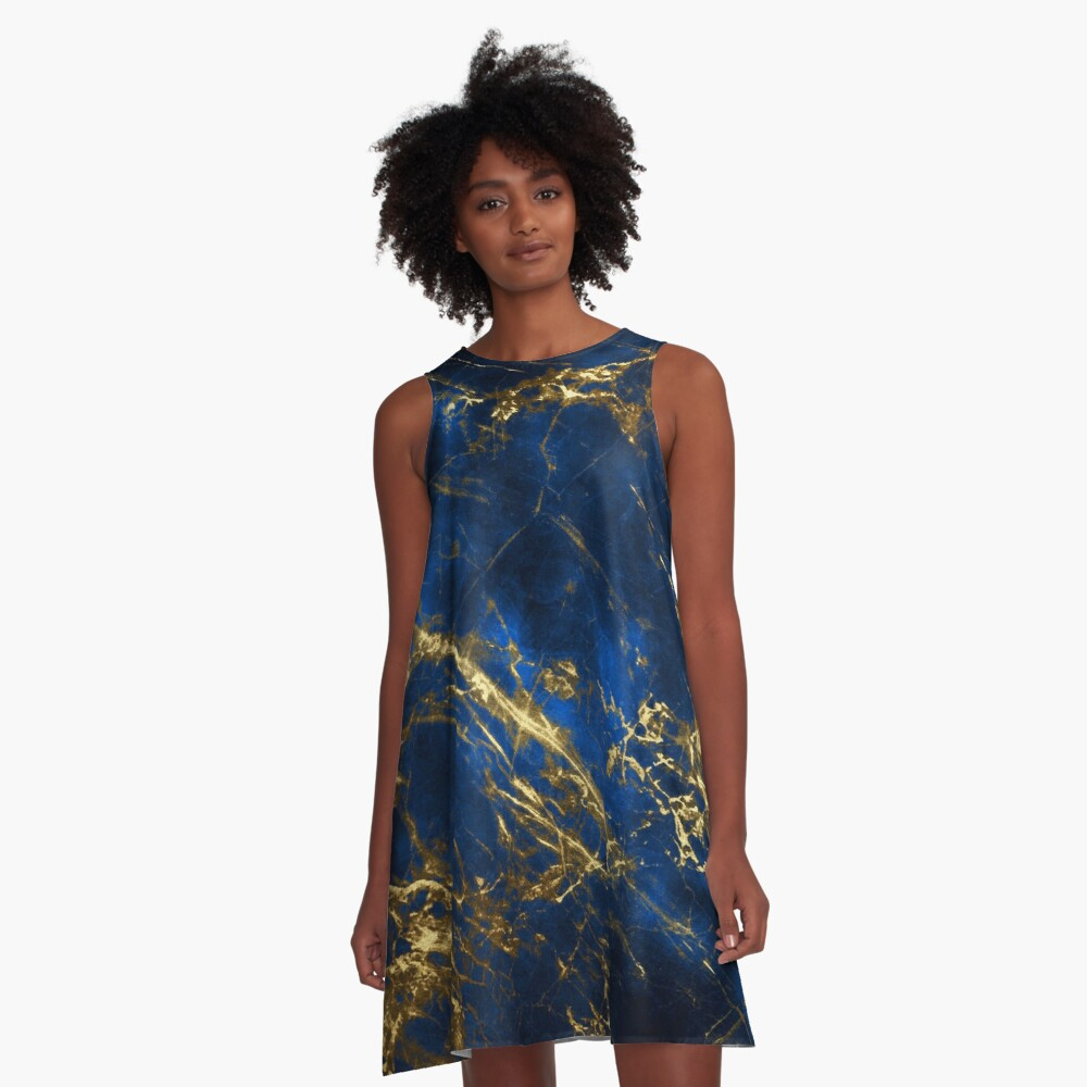 Exquisite Blue Marble With Luxury Gold Veins A-Line Dress