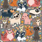 Cats and dogs pattern by mjdaluz