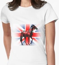 United Kingdom Union Jack - Patriotic British Thoroughbred Racehorse Fitted T-Shirt