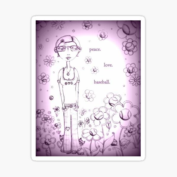 Purple Peace Love and Baseball - Whimsical Folk Art Girl Sticker