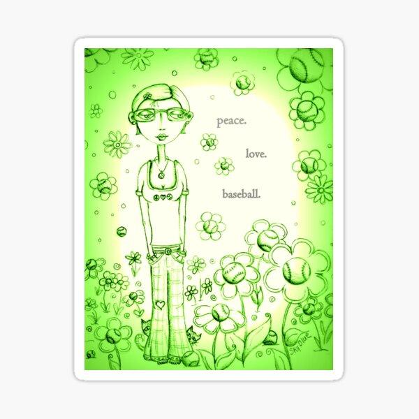 Green Peace Love and Baseball - Whimsical Folk Art Girl Sticker