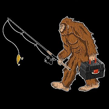 Fishing Angling Funny Distressed Design - Fishing Bigfoot by kudostees