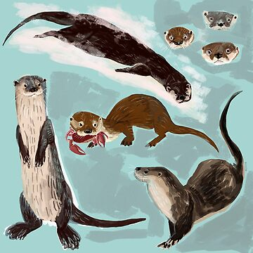 New World otters by belettelepink