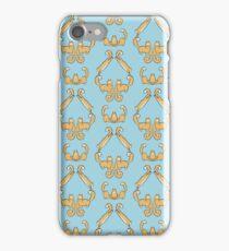 Cat damask blue iPhone Case/Skin