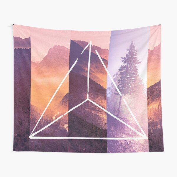 Forest Mountain Trees - Geometric Nature Wildfire Rebirth Tapestry