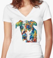 Colorful Great Dane Art Dog By Sharon Cummings Women's Fitted V-Neck T-Shirt