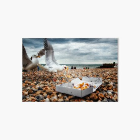 Fish and Chips with Brighton Gulls Art Board Print