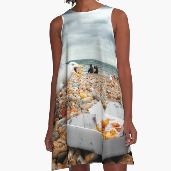 Fish and Chips with Brighton Gulls A-Line Dress