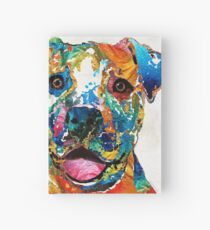 Colorful Dog Pit Bull Art - Happy - By Sharon Cummings Hardcover Journal