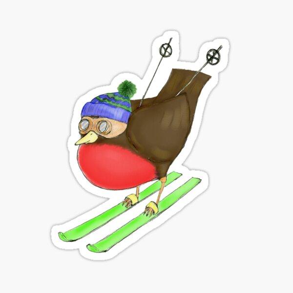 Skiing Robin Sticker