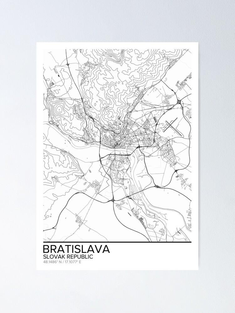 Bratislava Map PrintSlovakia Wall Art PosterCity Maps ArtworkMap Gifts