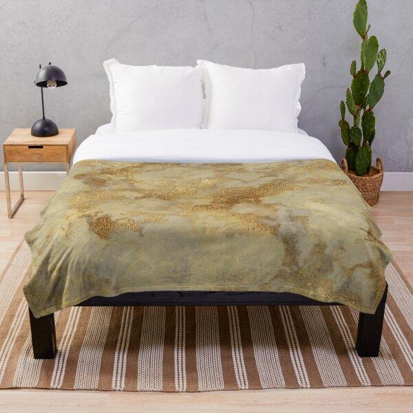 Gold Metallic Marble Pattern Throw Blanket